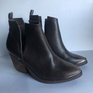 Not Rated Brown Vegan Leather Ankle Booties Size 7